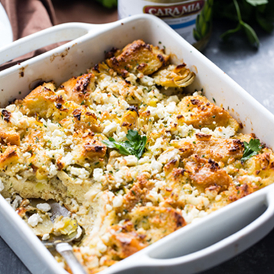 This Artichoke and Feta Cheese Strata recipe makes an amazing layered casserole that is perfect for breakfast or brunch! #STARFineFoods