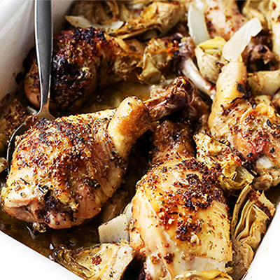 This recipe makes an incredibly delicious meal with baked chicken pieces and marinated artichoke hearts! #STARFineFoods