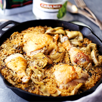 Classic, delicious comfort food with chicken and rice made in just one pot! It's quick and easy, and the artichokes add so much flavor! #STARFineFoods