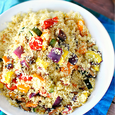 This roasted vegetable couscous recipe is instant a favorite, with tossed, roasted, and caramelized vegetables! #STARFineFoods