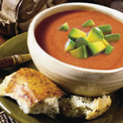Grab a baguette and dive right in with this Gazpacho with California Avocado recipe! Easy to make and deliciously creamy. #STARFineFoods