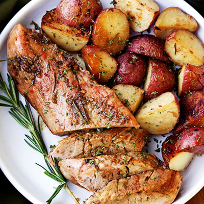 Easy to make, flavorful, incredibly tender pork loin rubbed with a Garlic and Rosemary Balsamic mixture makes for a crowd pleasing dinner with very little effort. #STARFineFoods