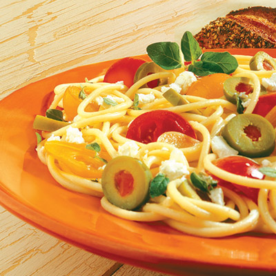 Enjoy a classic night at home with this Goat Cheese Tomato Pasta recipe. It's deliciously easy to make and fun to eat! #STARFineFoods