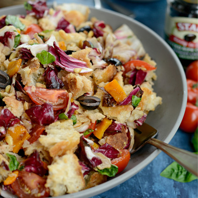 Grilled Radicchio, Bell Pepper and Olive Panzanella