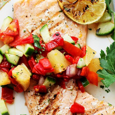 Grilled Salmon with Pineapple Piquillo Pepper Salsa