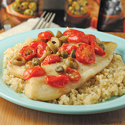You're just minutes away from a healthy, flavorful, grilled dinner with this Grilled Tilapia with Olives, Tomatoes, & Capers recipe! #STARFineFoods