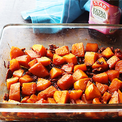 A simple yet delicious side dish recipe with roasted butternut squash and crunchy pecans combined with cinnamon and honey. #STARFineFoods