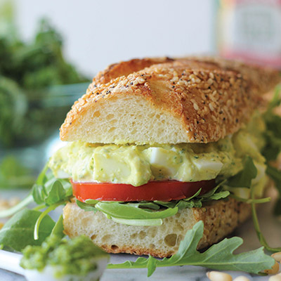 The addition of kale pesto in this egg salad recipe is a wonderful, healthy twist to the traditional version! #STARFineFoods