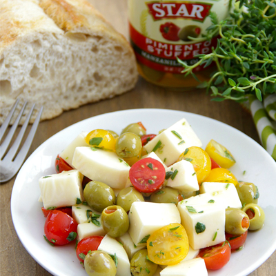 Marinated Olives Mozzarella and Tomato Salad