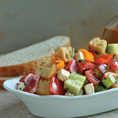 Bright colors and filled with healthy veggies, this Mediterranean Pepper Panzanella is the ideal appetizer for the hungry soul. #STARFineFoods