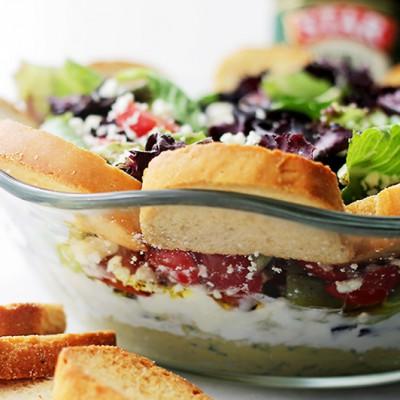 Mediterranean-Seven-Layer-Dip-Salad