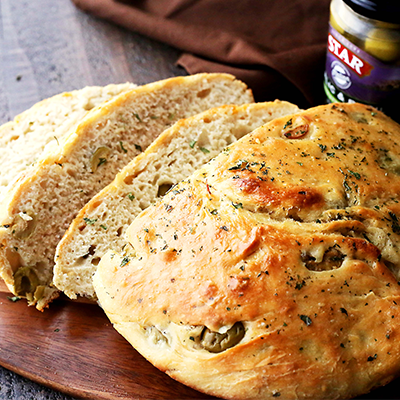 No-Knead-Skillet-Olive-Bread-Featured