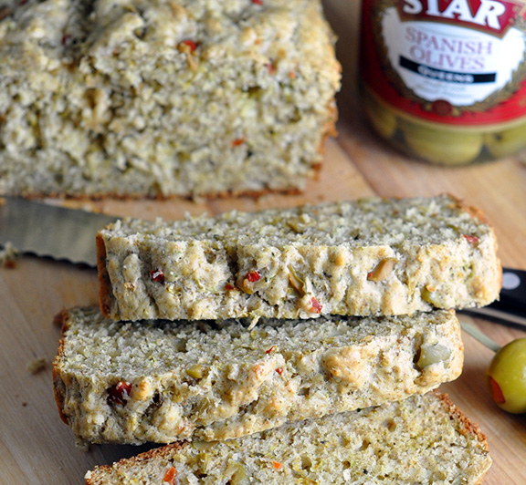 Olive Quick Bread recipe– this savory olive quick bread is perfectly delicious on its own or great served with a salad!   #STARFineFoods