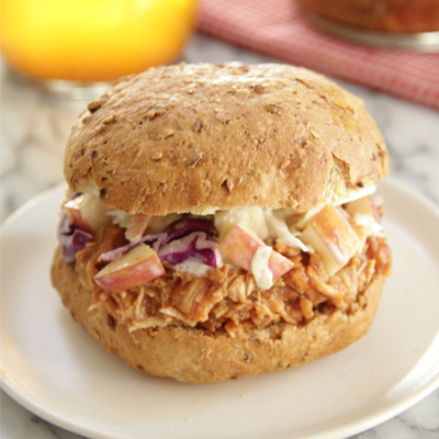 Pulled Chicken Sandwiches With Apple Slaw