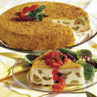 Perfect for any cheese fans out there, this Ricotta and Olive Torte with Tomato Vinaigrette is a delicious blend of Italian herbs and olives. #STARFineFoods