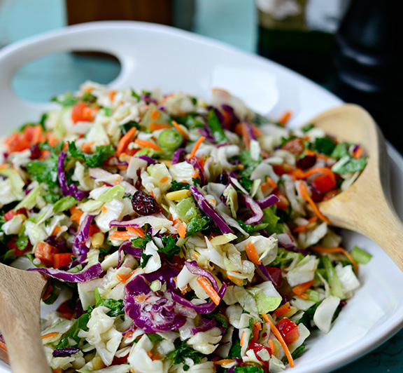 Try this Rainbow Crunch Salad recipe! It's dairy-free, veggie-loaded, and has a slaw-meets-salad vibe that takes under 15 minutes to whip together.  #STARFineFoods