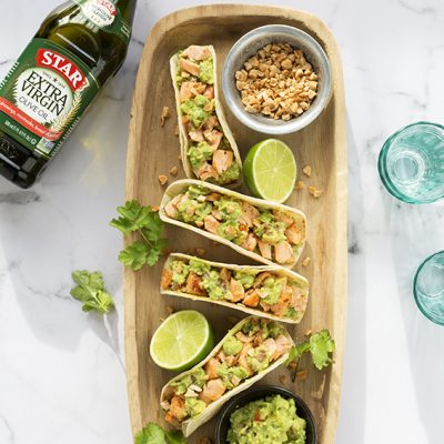 Salmon and Guacamole Tacos
