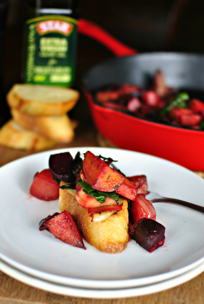 In this root vegetable skillet hash beets, parsnips, turnips and sweet potatoes are cooked with garlic and thyme. A deliciously healthy side dish. #STARFineFoods