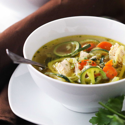 It only takes 20 minutes to create this amazing, healthy bowl of Chicken Zoodle Soup that's prepared in a pressure cooker! #STARFineFoods