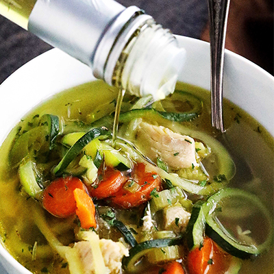 Only 20 minutes to this amazing, healthy bowl of Chicken Zoodle Soup prepared in a pressure cooker! #STARFineFoods