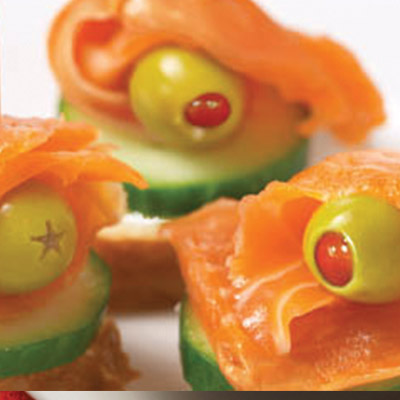 Stuffed with Omega-3 this Salmon and Olive Canapes recipe is the perfect appetizer for a healthy mind and body!  #STARFineFoods