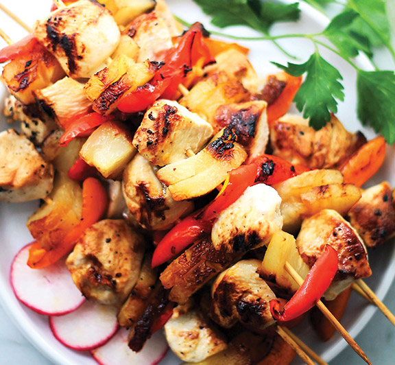 Sesame Soy Pineapple Chicken Kabobs recipe–The sweet and tart sesame-soymarinade is the perfect accompaniment to these incredibly delicious pineapple and chicken kabobs.  #STARFineFoods