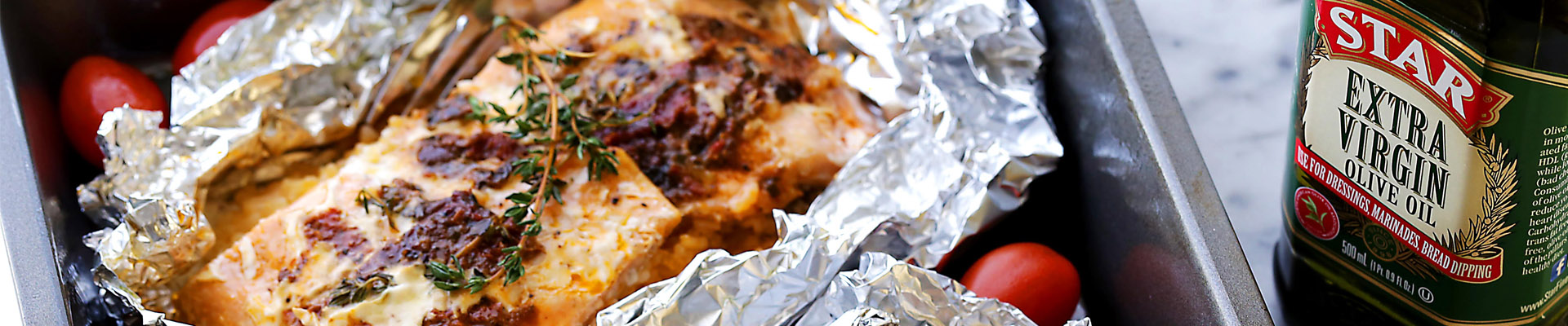 Foil-Baked Salmon With Basil Pesto And Tomatoes Recipe ...