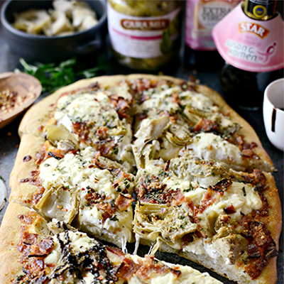 This fantastic white pizza recipe gives you creamy, smoky, salty, artichoke-y, fresh herb goodness in every bite. #STARFineFoods