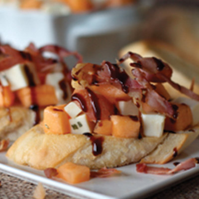 Cantaloupe Bruschetta with Modena Balsamic Glaze